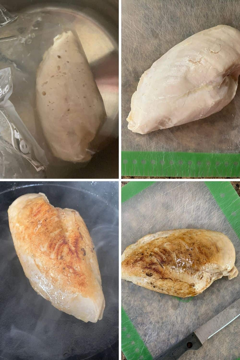 collage image of four photos showing a cooked chicken breast in a bag in the instant pot sous vide bath, then on a cutting board, then seared in a cast iron pan, then on a cutting board for slicing.