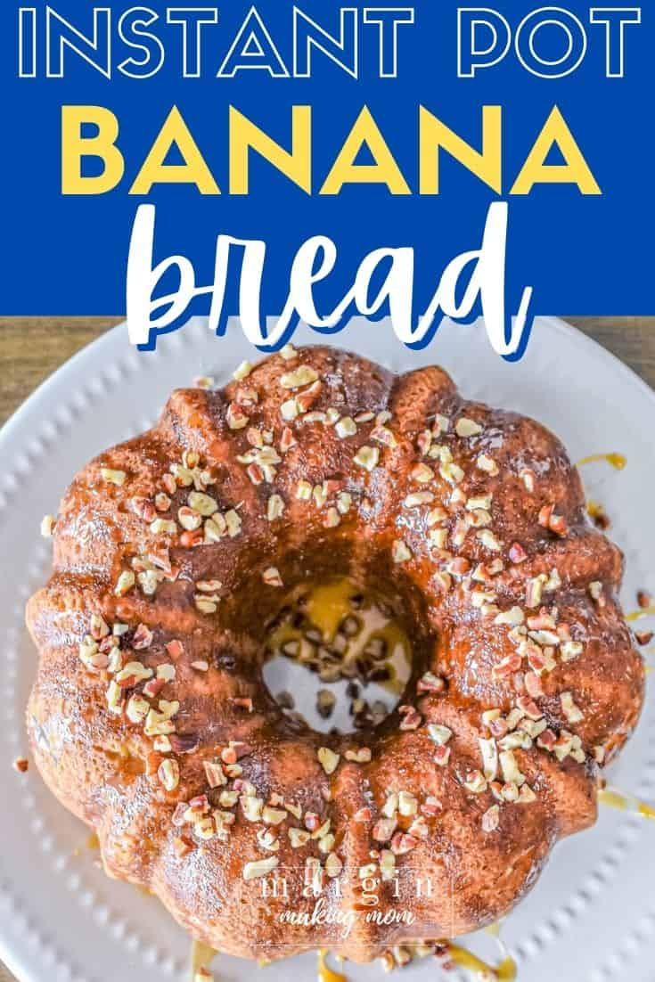 overhead view of a banana bread bundt baked in the Instant Pot
