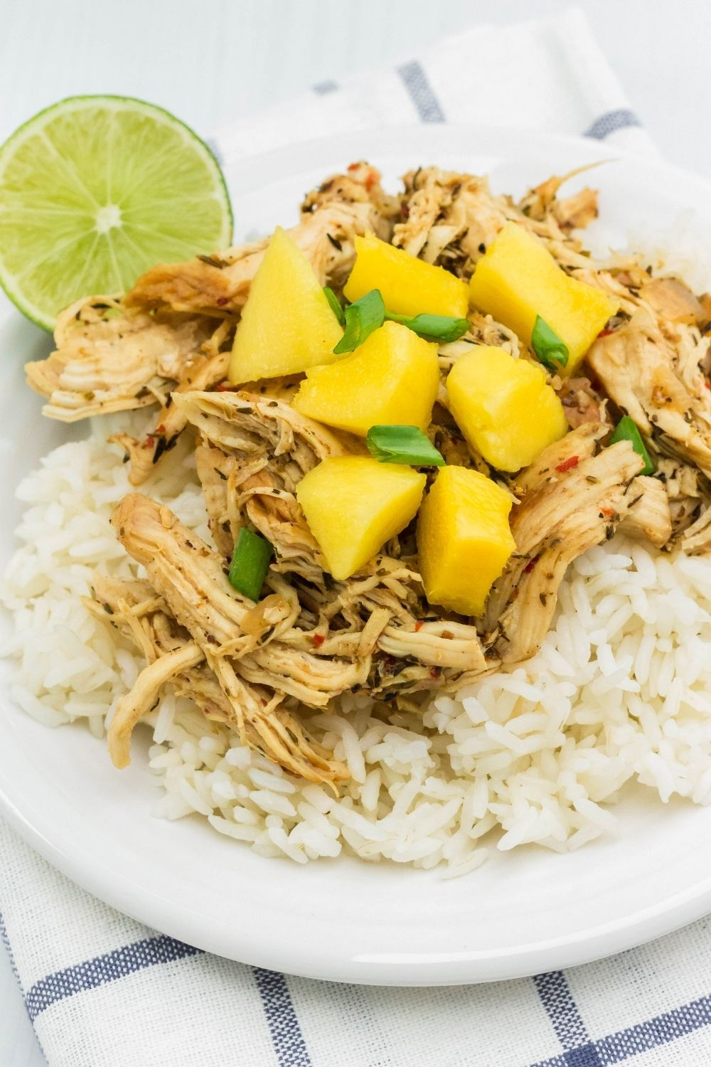 Instant Pot pulled jerk chicken over rice with mango