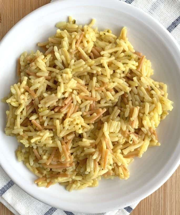 a white plate with a helping of Instant Pot Knorr Rice Sides