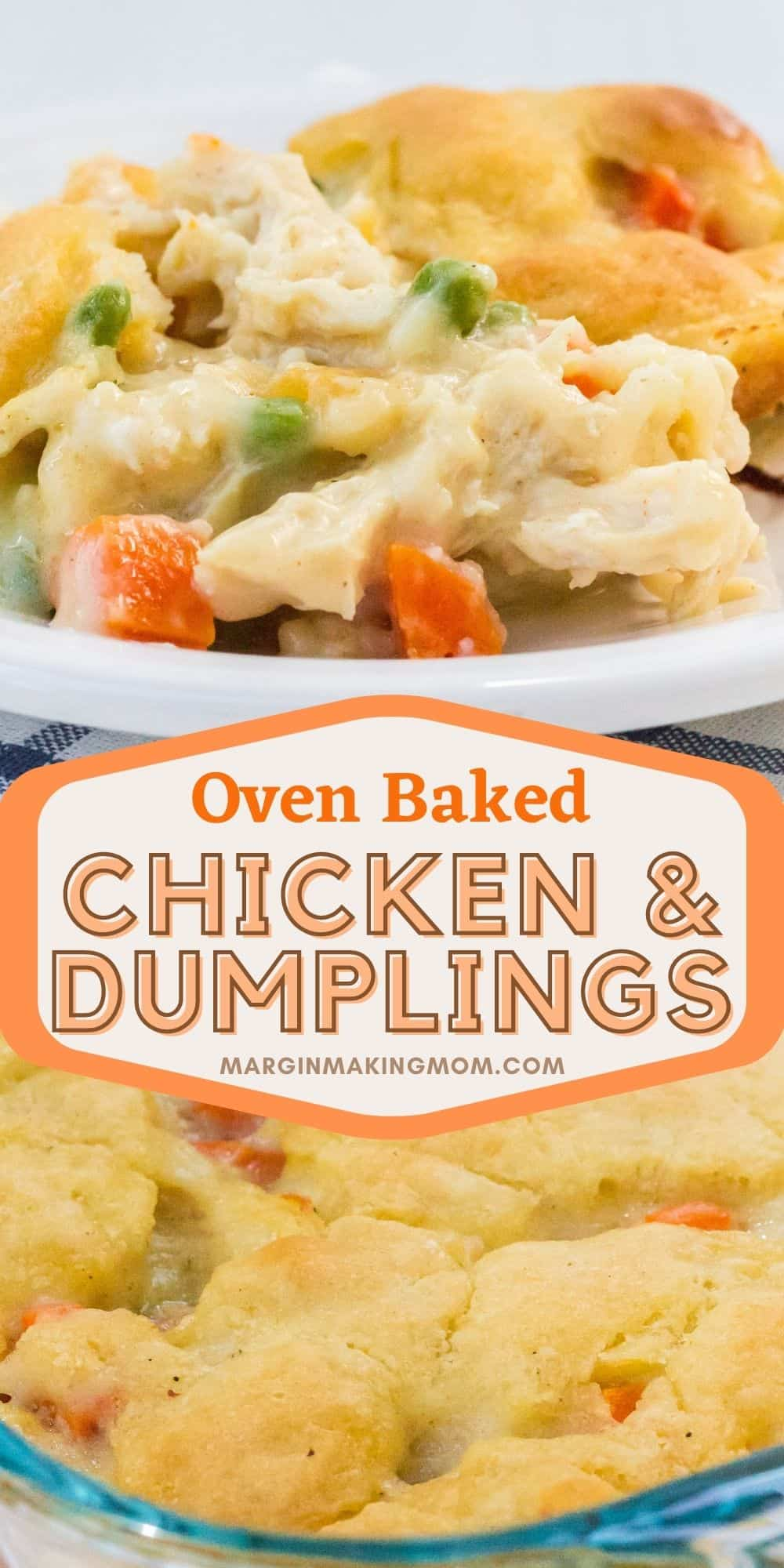 collage image featuring baked chicken and dumplings casserole in the baking dish and served on a white plate