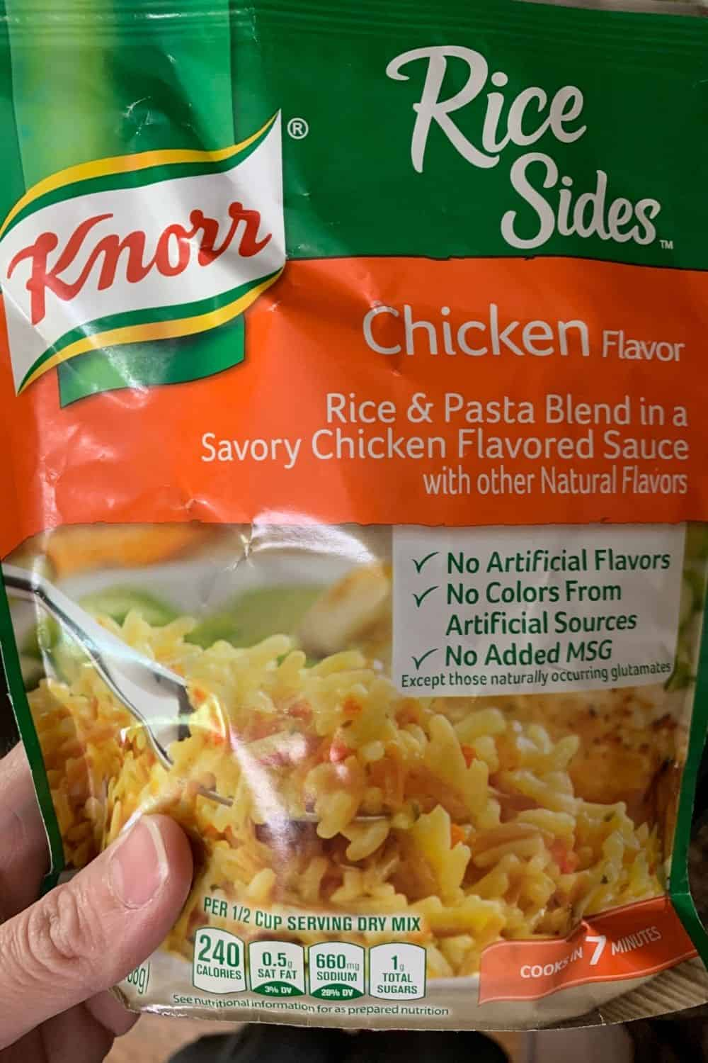 a package of Knorr Rice Sides  in chicken flavor