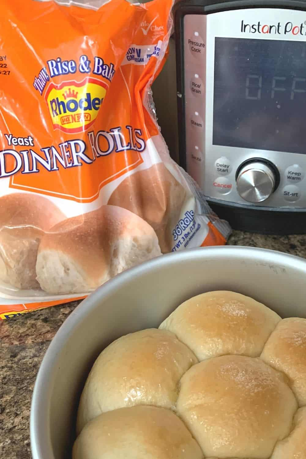 a package of frozen Rhodes yeast rolls next to an Instant Pot, with a pan of baked rolls in the front