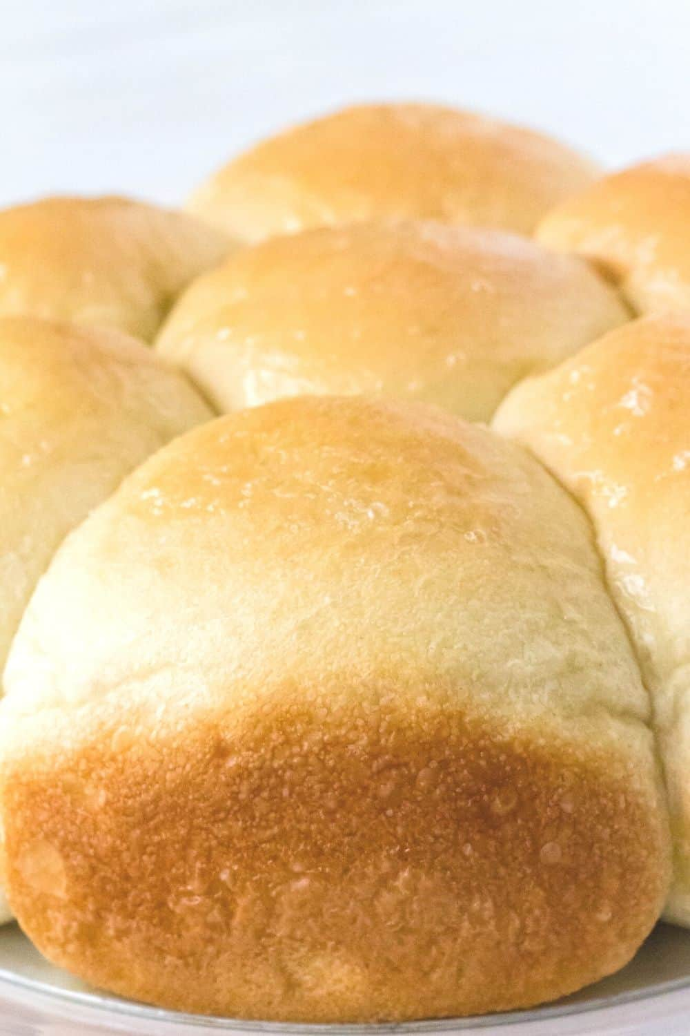close-up view of freshly baked rhodes rolls