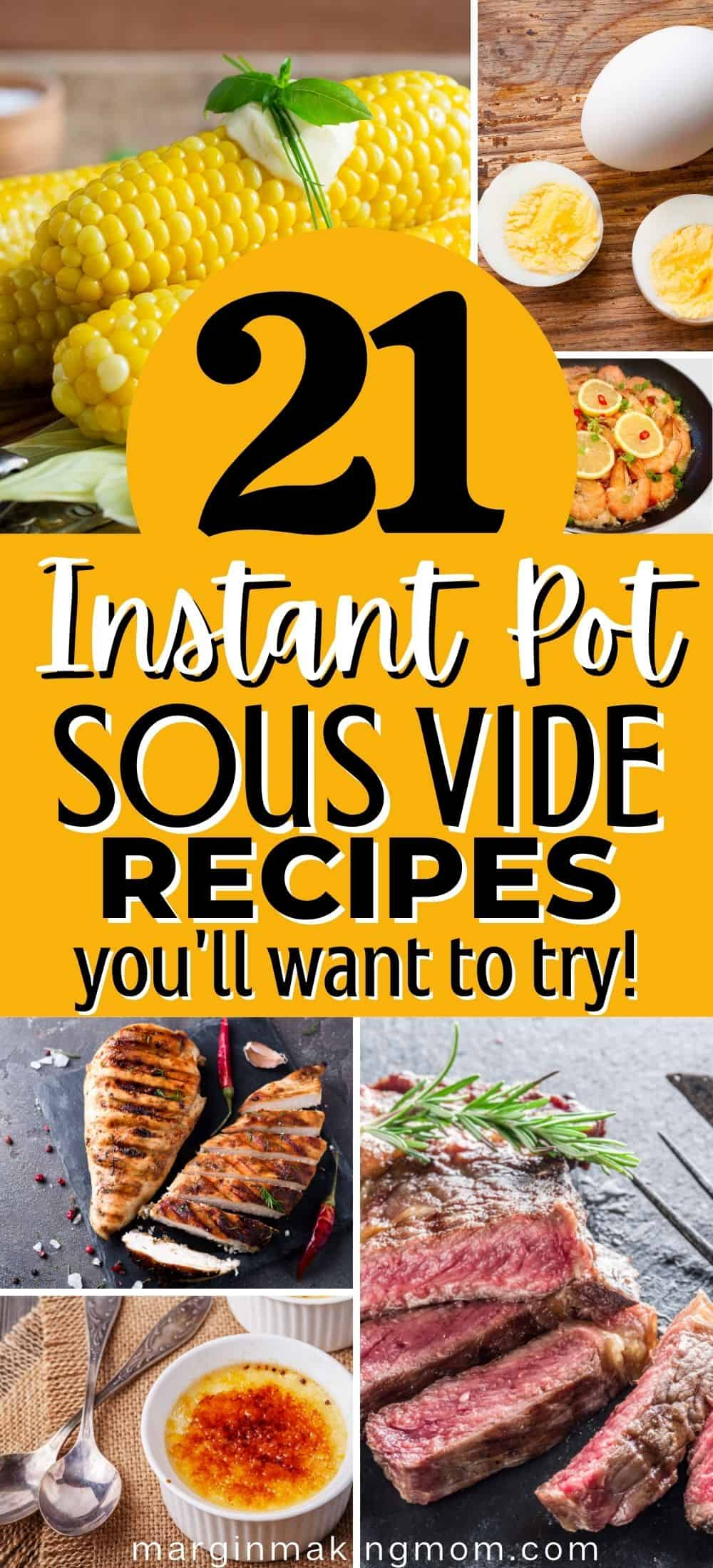 collage image featuring various foods that can be cooked using the Instant Pot sous vide function