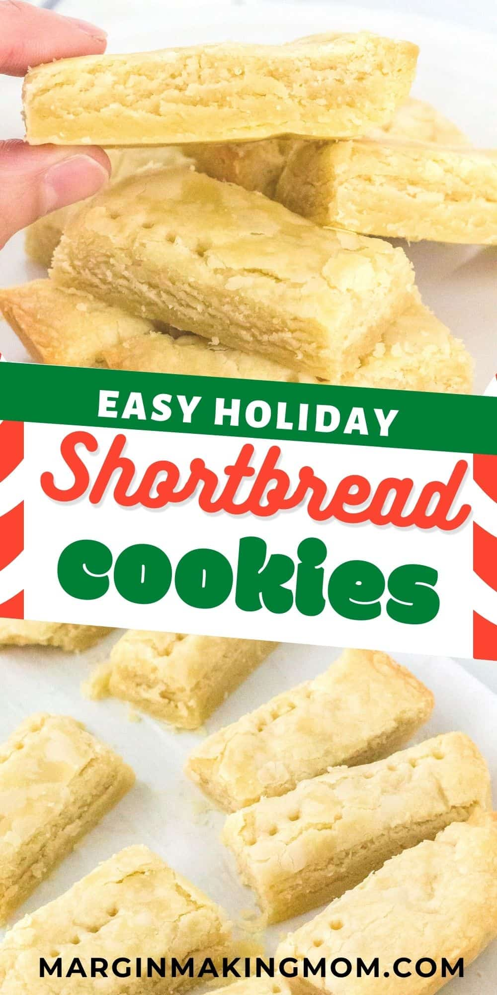 collage image featuring two photos of Scottish shortbread cookies--one is a cookie held by a hand, the other is cookies on parchment paper