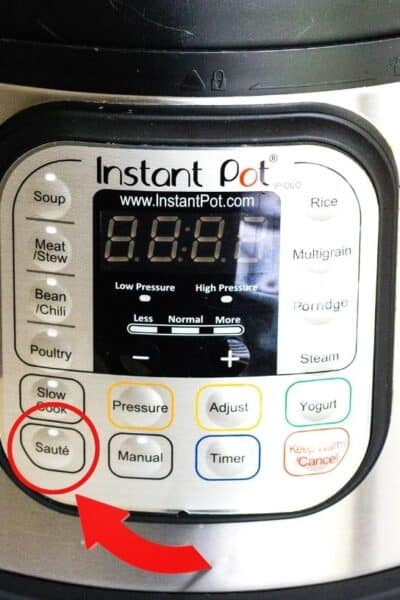 control panel of an Instant Pot, showing the Saute button circled