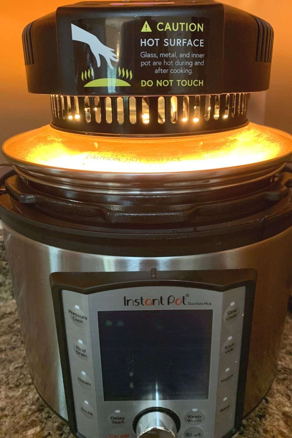 Instant Pot with an air fryer lid on top