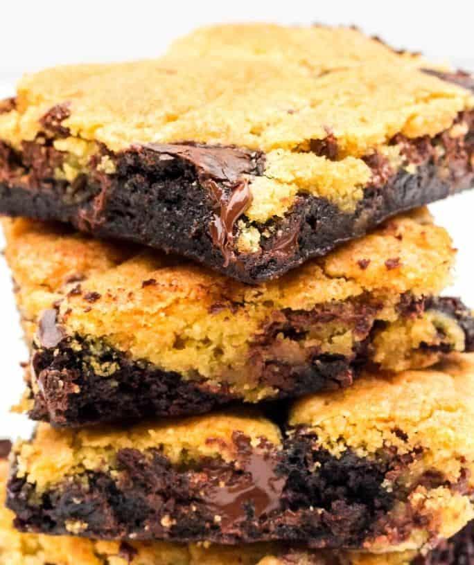 stack of marbled brownie cookie bars