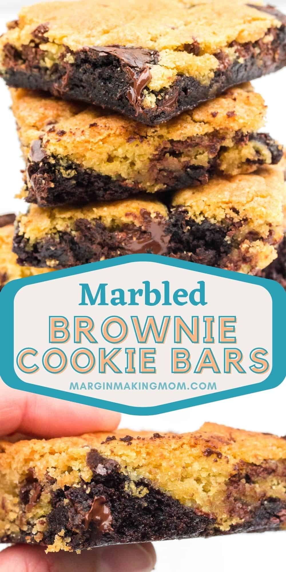 collage image featuring two photos of marbled brownie cookie bars--one is a stack of bars and the other of fingers holding a bar