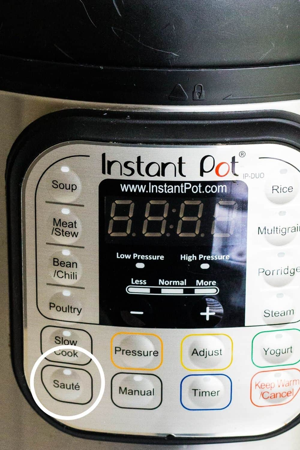 control panel of an Instant Pot DUO 60, with the Saute button circled