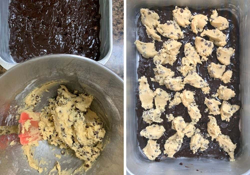 collage image showing the process of scooping chocolate chip cookie dough onto the brownie batter