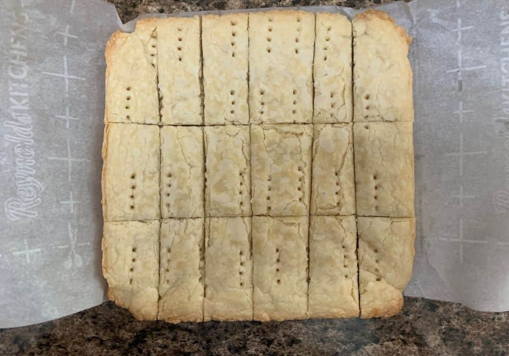 freshly baked and cut scottish shortbread
