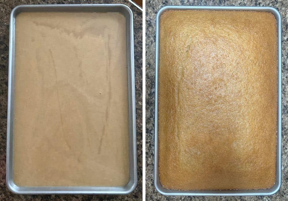 collage image of two photos, one showing the baking pan filled with batter before baking, as well as one showing the freshly baked cake in the pan.