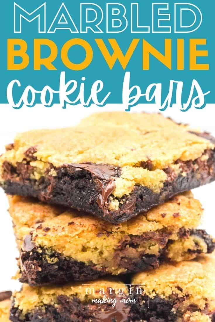 stack of marbled cookie brownie bars