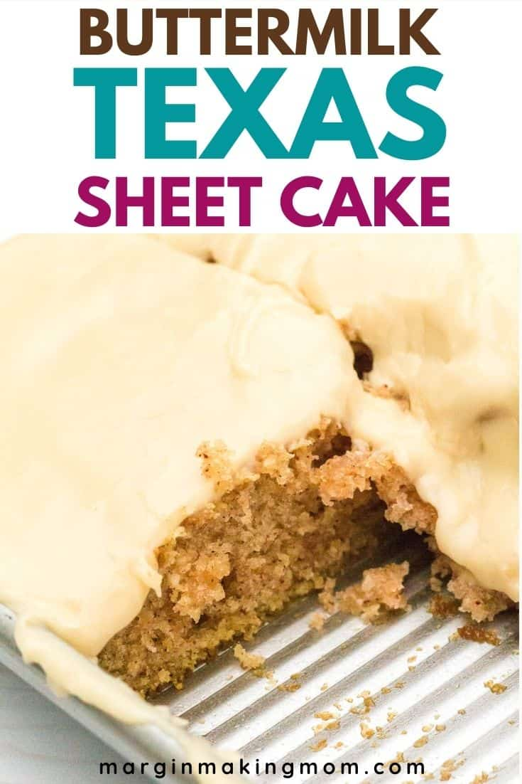 Buttermilk Texas Sheet Cake in the pan, with a square cut out and removed