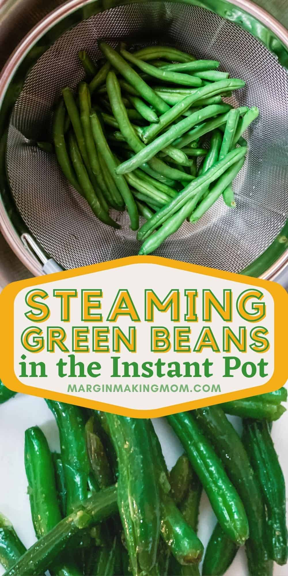 collage image featuring two photos--one of fresh green beans in a steamer basket and the other of cooked green beans on a white plate