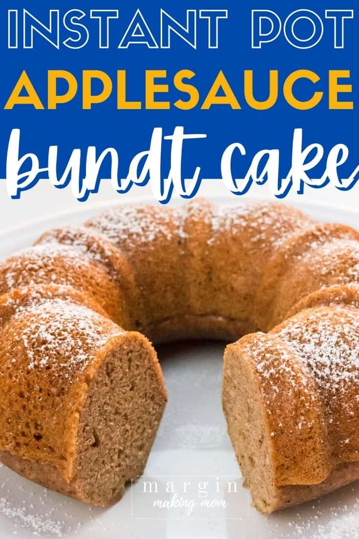 Instant Pot applesauce cake that has had a slice cut out of it