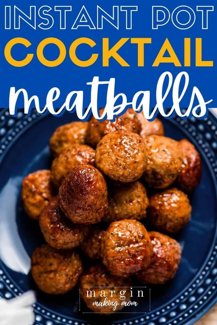 overhead view of Instant Pot BBQ sauce and grape jelly meatballs on a blue plate