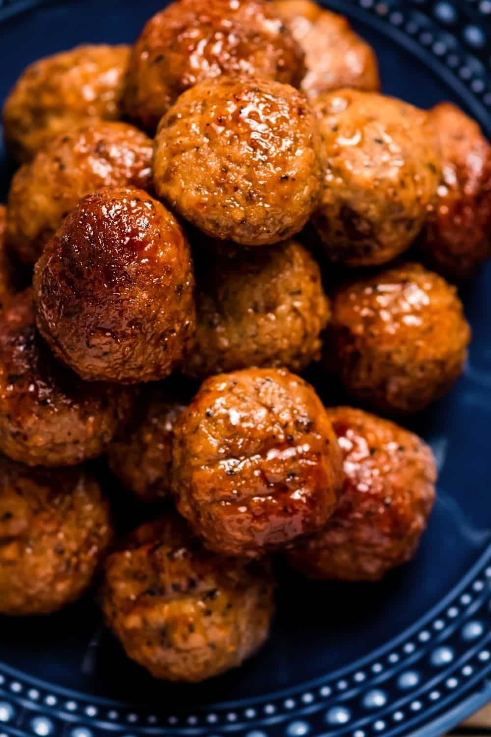 close-up view of meatballs cooked in the Instant Pot with grape jelly and BBQ sauce